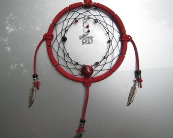 DRAGON Dream Catcher with Silver Plated Chinese Charm Dragon in Red, Black and Silver