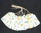 SALE - PreStrung Glittered Checks on White Large Scallop Die Cut Gift Hang Tags (6) C8