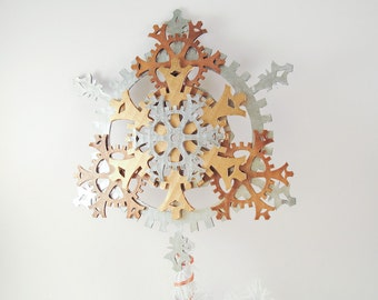 Medium 8-inch Ornate Steampunk Tree Topper with Snowflake Gears in Metallic Tones of Brass, Antique Brass, and Silver