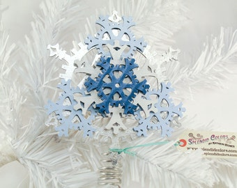 Small 5-inch Steampunk Tree Topper - Snowflake Gears, shown in Silver, White, and Blue