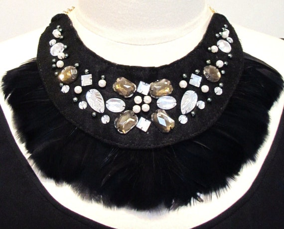Statement feather necklace jeweled bib tribal necklace black and silver beaded necklace-Tribal Warrior Necklace