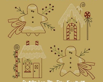 Primitive Machine Embroidery Design-Gingerbread Mini Collection 1- Version 2-5X7 SET-INSTANT DOWNLOAD