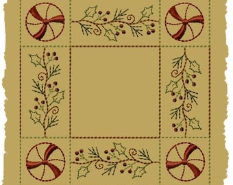 Primitive Machine Embroidery Design-Peppermint Holly Candle Mat-4 Inch-INSTANT DOWNLOAD