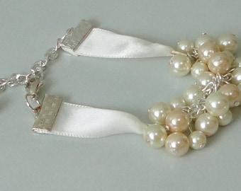 BRIDESMAIDS Gift Ivory & Champagne Pearl Cluster Bridal Wedding Bracelet