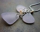Sea Glass Necklace - Purple  Beach Seaglass Pendant