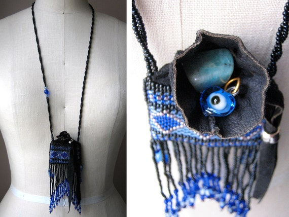 blue and black beaded amulet bag