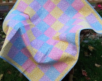 Sale Baby Girl Quilt, Baby Girl Crib Quilt, Pastel Baby Quilt, Pink Toddler Quilt Blues