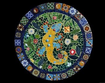 Custom Mosaic Talavera Tile Gecko Wall Hanging, Lazy Susan, or Table Top