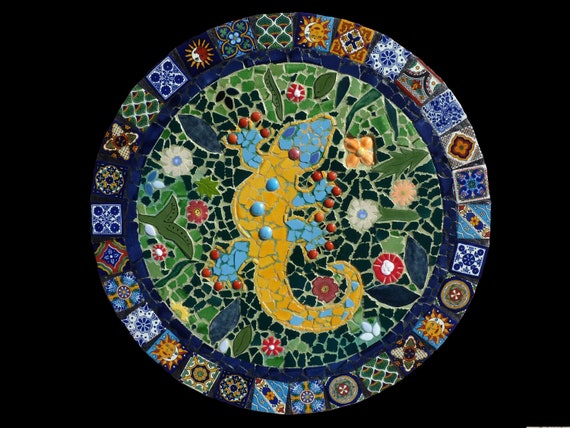 Custom Mosaic Talavera Tile Gecko Wall Hanging Lazy Susan Or