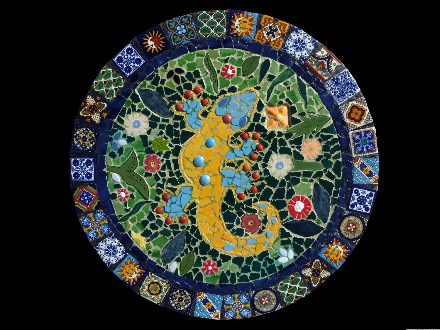 Custom mosaic talavera tile gecko wall hanging lazy susan or for Unique mosaic tile