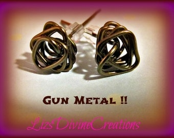 Wire Wrapped Gun Metal Triangular Twisted Post Copper Earrings SALE Was 20.00 Now Only 15.00