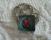 Glass Tile Rose Necklace