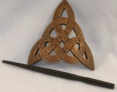 Leather Celtic Trinity Knot Hair Barrette