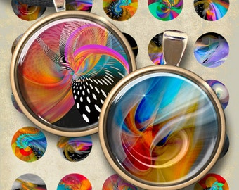 1 inch (25mm) and 1.5 inch size images MYSTIC CIRCLES Digital Collage Sheet Printable Download for pendants bottle caps magnets cabouchons