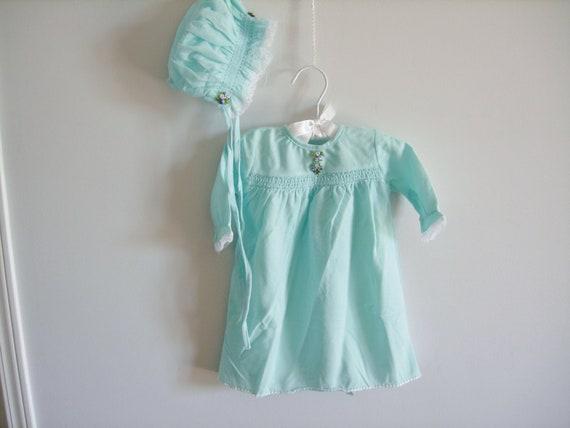 RESERVED RESERVED RESERVED Vintage Blue Flannel Pyjamas and Matching Bonnet