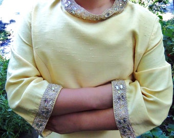 vintage 1960's Dinner Dress Yellow Rhinestone Gold Metallic Lurex Collar Cuffs size 8- 10 medium