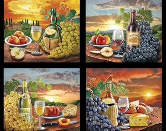 """Country Scenic Squares (3300E-BLK) - 23 1/2"""" x 44/45"""" panel"""