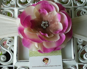 NEW ITEM----Boutique Baby Girl NYLON Headband with Rhinestone Rose Flower------Fuchsia and Cream-------Bella Collection