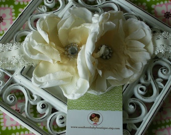 NEW ITEM----Boutique Baby Girl Toddler Shabby Flower Lace Headband-----Cream
