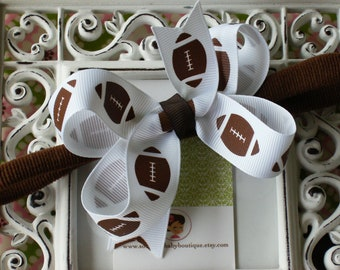 NEW ITEM----Boutique Baby Girl Toddler Hair bow Dainty Headband-----Miss Football