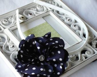 NEW---Rhinestone Striped Satin Flower Headband---Navy with White Dots
