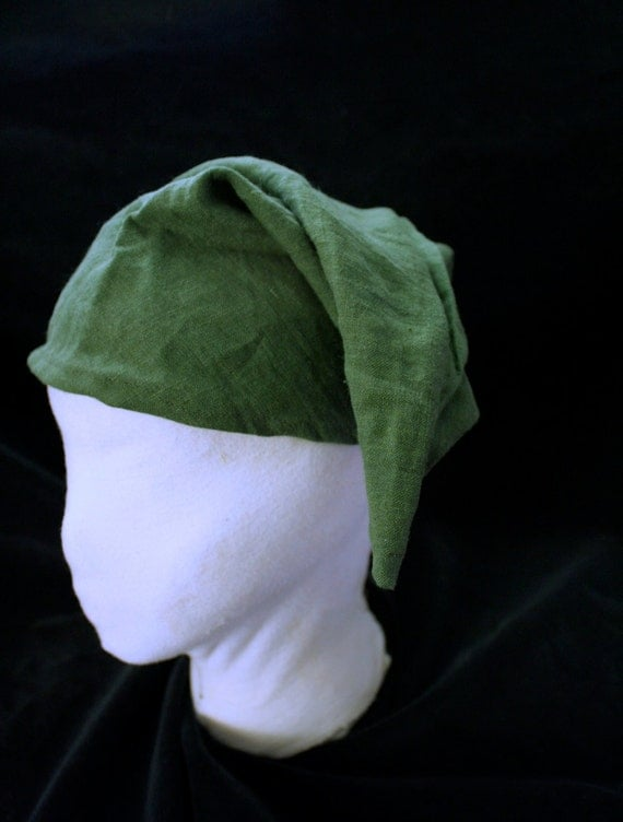 Hat - LINK from Legends of Zelda, Forest green linen  small medium - teen adult SCA garb hat