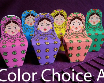 Indian Matryoshka Party Favor Box Printable Color Group A Files