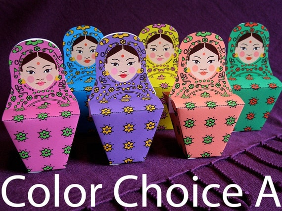 Indian Matryoshka Party Favor Boxes PDF Printable Color Group A