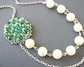 Bridesmaid Jewelry Set Bridal Jewelry Emerald Green Wedding Necklace Rhinestone Pearl Bridal Necklace Wedding Jewelry
