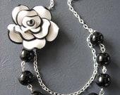 Black Necklace Bridesmaid Jewelry Flower Necklace Black and White Jewelry Beaded Necklace Silver Jewelry