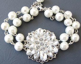 Bridal Bracelet Bridesmaid Jewelry Pearl Bracelet Bridal Jewelry Flower Bracelet Wedding Jewelry Maid of Honor Gift