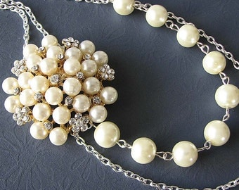 Bridal Necklace Wedding Jewelry Rhinestone Wedding Necklace Pearl Necklace Bridal Jewelry Bridesmaid Gift