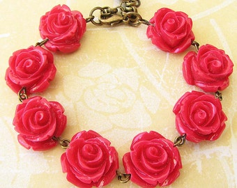 Kids Jewelry Flower Girl Bracelet Beaded Bracelet Red Rose Bracelet Rose Jewelry Bridesmaid Gift Red Jewelry