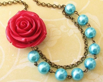 Flower Necklace Turquoise Jewelry Statement Necklace Red Rose Necklace Bridesmaid Jewelry Bib Necklace