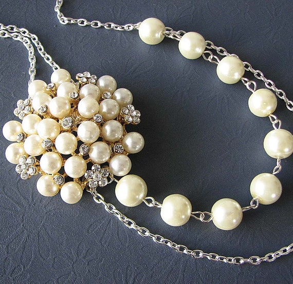 Bridal Necklace Wedding Jewelry Rhinestone Wedding Necklace Pearl Necklace Bridal Jewelry Bridesmaid Gift