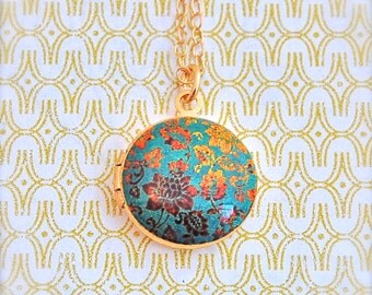 Small Locket Necklace Vintage Inspired Turquoise and Gold Floral Wallpaper Print