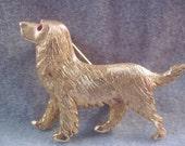 Vintage Labrador Retriever Brooch with red rhinestone eye marked SALE