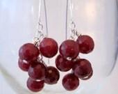 Ruby Quartz Cluster Earrings