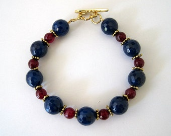 Blue and Ruby Agate Bracelet