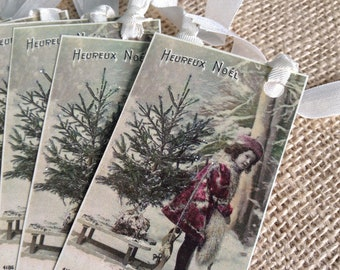 Holiday Gift Tags with White Ribbon - Set of 6 - Vintage Inspired Gift Tags - Heureux Noel Tags with Little Girl