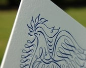 30 Hand Calligraphy and Letterpress Navy Peace Dove Christmas Card with Custom Inserts