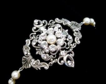 Vintage style bracelet, wedding jewelry, bridal bracelet, pearl bracelet, antique silver bracelet, Swarovski crystals, Swarovski pearls