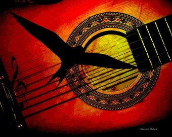 Song of The South, Guitar Art, Southern Bird Silhouette, Digital Music Instrument, Red Yellow Black, Wall Hanging, Home Decor, Giclee Print