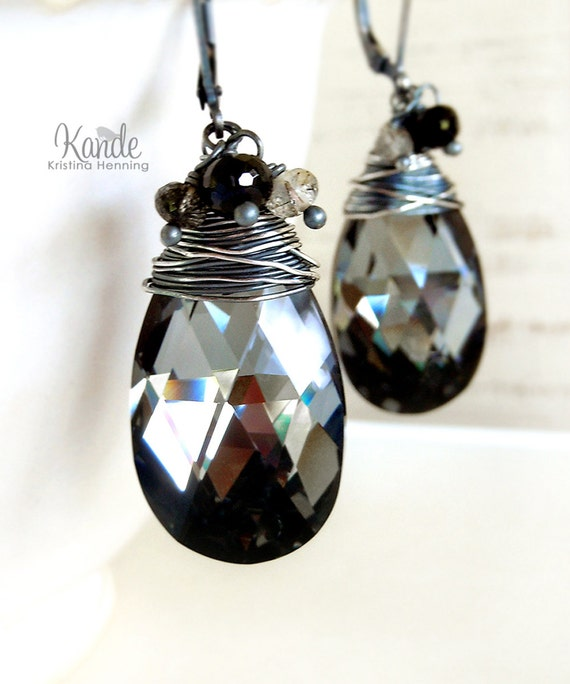 Black Crystal Earrings Sterling Silver Drop Wire Wrapped Oxidized Leverback Kande Jewelry