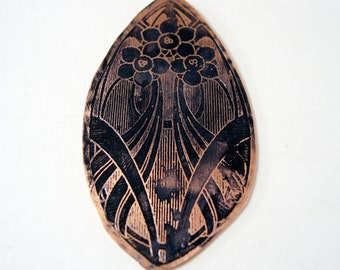 Etched Copper pendant Art Deco - Free Domestic Shipping