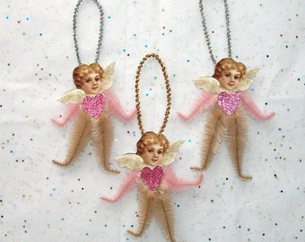 3  Chenille Ornaments Christmas Vintage Style Romantic Angels Ornaments Victorian Faces Ornaments (74b)