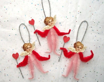 3 Vintage Style Chenille Christmas Angels Ornaments, Red Heart Wands  (75 c)