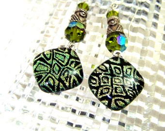Green Dichroic Earrings, Fused Dichroic Glass, Sterling Silver and Swarovski Crystals.Hand Made Statement Earring