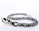 Black Chainmaille - Wallet Chain - Graduated Byzantine (Thick to Thin)