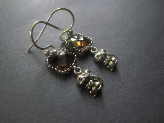 Sterling Silver Squirrel Earrings - Smoky Quartz Earrings - Squirrel Earrings - Autumn Earrings - Woodland Forest Jewelry